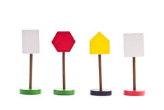 Unmarked Traffic Signs. Miscellaneous Unmarked Toy Traffic Signs royalty free stock images