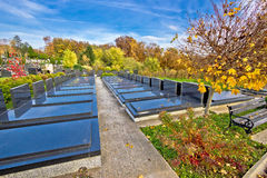 Unmarked and unnamed graves on graveyard Stock Image