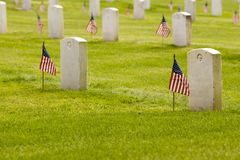 unmarked US grave stones Stock Photos