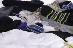 Unmatched Socks. Background of unmatched and mixed colored socks Royalty Free Stock Image