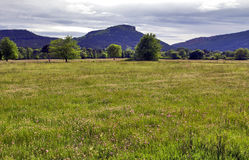 The unmistakable shape of Colle Rousse, Volcanic plug across the fields and meadows of La Plan, Bagnols. En Foret, The Var, France Stock Images