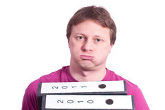 Unmotivated man with files Stock Images