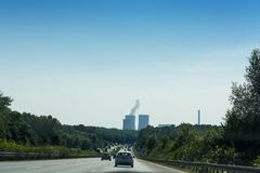 View of the A2 motorway and Scholven coal power station. stock photo