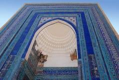 Unnamed mausoleum in the ensemble of mausoleums of Samarkand aristocracy Shahi Zinda royalty free stock photography