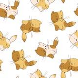 Unny cartoon kittens. Seamless pattern - funny cartoon kittens. Vector illustration Royalty Free Stock Photo