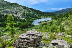 Uno da sette laghi Karakol della montagna in montagne di Altai, la Russia Fotografia Stock