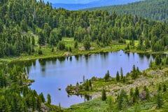 Uno da sette laghi Karakol della montagna in montagne di Altai, la Russia Immagini Stock Libere da Diritti