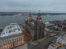 Uno de Liverpools que sorprende edificios icónicos Fotografía de archivo