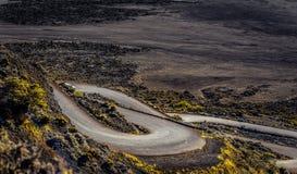 Uno de los caminos de La Fournaise del pitón Imagen de archivo libre de regalías