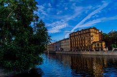Uno de los canales en St Petersburg Fotos de archivo libres de regalías