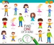 Uno de un juego bueno con los niños de la historieta ilustración del vector