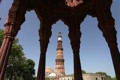 Uno dei siti del patrimonio mondiale dell'Unesco di Nuova Delhi tre, Qutub Minar, Nuova Delhi, India Fotografie Stock Libere da Diritti