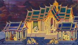 Uno del murale dipinto alla parete del convento, kaew di phra del wat, Bangkok, Tailandia Fotografia Stock Libera da Diritti