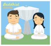 ` Uno di meditazione del ` dell'attività buddista Immagini Stock Libere da Diritti