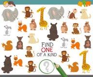 Uno di un gioco gentile con gli animali illustrazione di stock