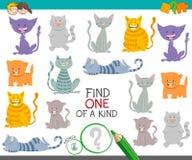 Uno di un gioco gentile con i gatti ed i gattini del fumetto illustrazione di stock