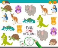 Uno di un gioco gentile per i bambini con gli animali illustrazione di stock
