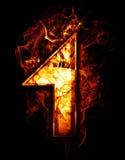 Uno, ejemplo del número con efectos del cromo y fuego rojo encendido Imagen de archivo