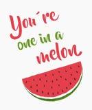 Uno en un melón stock de ilustración