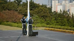 UNO flag changing, Pusan, Korea stock video footage