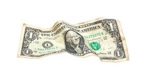 Uno ha spiegazzato il dollaro isolato su bianco Fotografia Stock Libera da Diritti