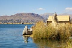 Uno Island, Puno, Peru. Boat make of hays on Uro Island, Puno, Peruu Stock Image