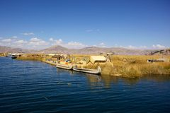 Uno Island, Puno, Peru. Uro Island is the floating island made of hays near Puno, is a famous travel destination in Peru Stock Image