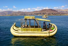 Uno Island, Puno, Peru. Uro Island is the floating island made of hays near Puno, is a famous travel destination in Peru Royalty Free Stock Photography