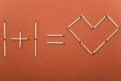 Uno más un amor igual Fotografía de archivo libre de regalías