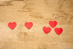 Uno más uno iguala tres corazones Imagen de archivo