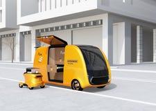 Uno mismo-conducción de la furgoneta y del abejón de entrega de la pizza en la calle libre illustration