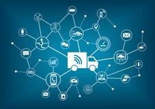 Uno mismo-conduciendo los camiones infographic stock de ilustración
