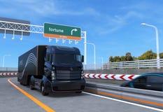Uno mismo que conduce el camión híbrido en la carretera libre illustration
