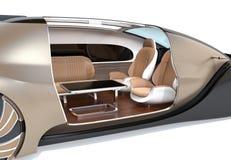 Uno mismo que conduce el coche eléctrico interior con el sillón y los asientos que hacen frente posteriores foto de archivo libre de regalías