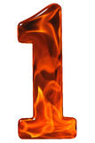 1, uno, número del vidrio con un modelo abstracto de flamear Fotografía de archivo libre de regalías