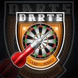 Uno rojo lanza con la blanco redonda en el centro del escudo Logotipo del deporte para cualquier juego o campeonato de los dardos stock de ilustración