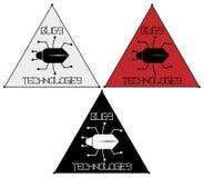 Uno scarabeo astratto in un triangolo con un'iscrizione ostacola della tecnologia, un logo minimalistic Fotografia Stock Libera da Diritti