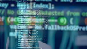 Uno schermo blu con il codice commovente illustrazione di stock