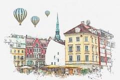Uno schizzo dell'acquerello o un'illustrazione di bella vista dell'architettura di Riga illustrazione di stock