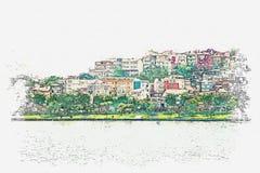 Uno schizzo dell'acquerello o un'illustrazione di bella vista dell'architettura tradizionale a Costantinopoli illustrazione di stock