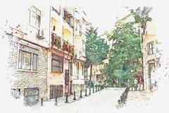 Uno schizzo dell'acquerello o un'illustrazione di una via tradizionale a Costantinopoli illustrazione vettoriale