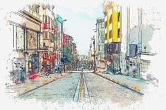 Uno schizzo dell'acquerello o un'illustrazione di una via tradizionale a Costantinopoli illustrazione di stock