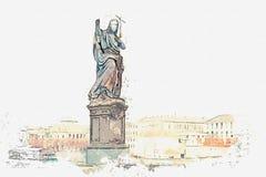 Uno schizzo dell'acquerello o un'illustrazione Scultura di St John il battista su Charles Bridge a Praga illustrazione vettoriale