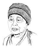 Uno schizzo disegnato a mano di una donna anziana Immagini Stock Libere da Diritti
