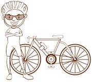 Uno schizzo normale di un ciclista illustrazione vettoriale