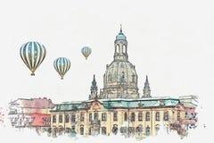 Uno schizzo o un'illustrazione dell'acquerello Architettura di Dresda Limite della città illustrazione di stock