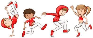 Uno schizzo semplice dei ballerini nel rosso Fotografia Stock