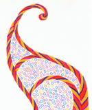 Uno schizzo variopinto di una forma di onda con i piccoli cerchi illustrazione di stock