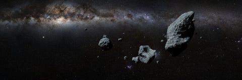 Uno sciame delle asteroidi davanti alla galassia della Via Lattea royalty illustrazione gratis