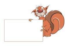 Uno scoiattolo con un fumetto in bianco vuoto Fotografie Stock Libere da Diritti